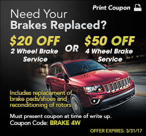 Brake Service Special Coupon at SJ Denham